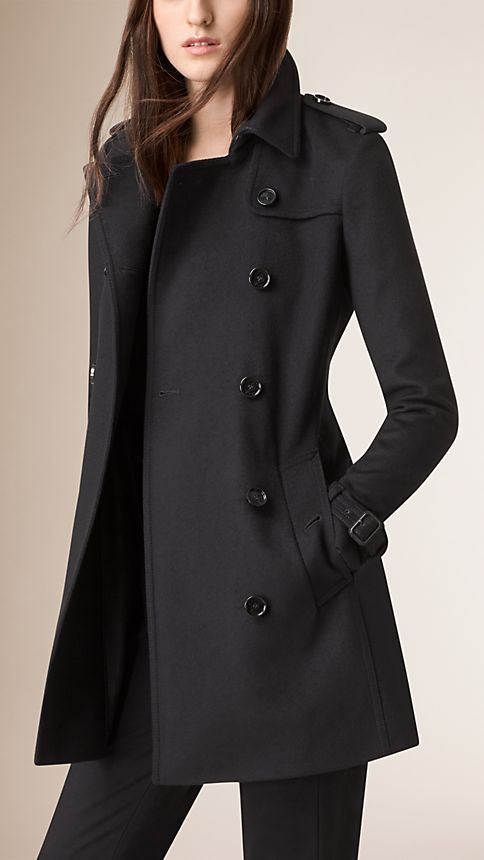 Black Virgin Wool Cashmere Trench Coat - Image 2