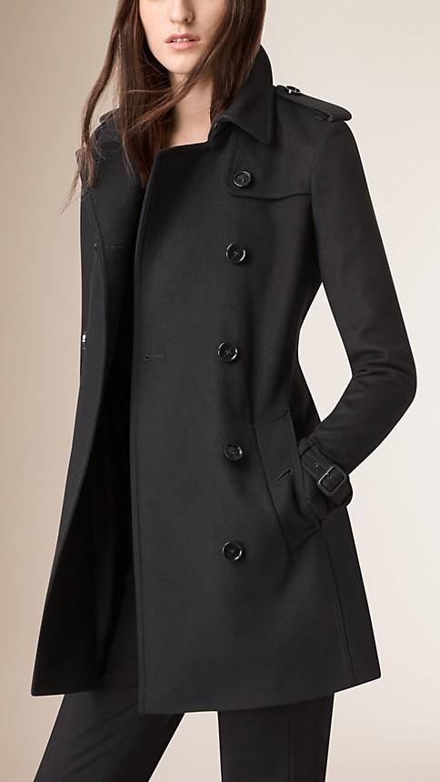 Noir Trench-coat en laine vierge et cachemire - Image 2