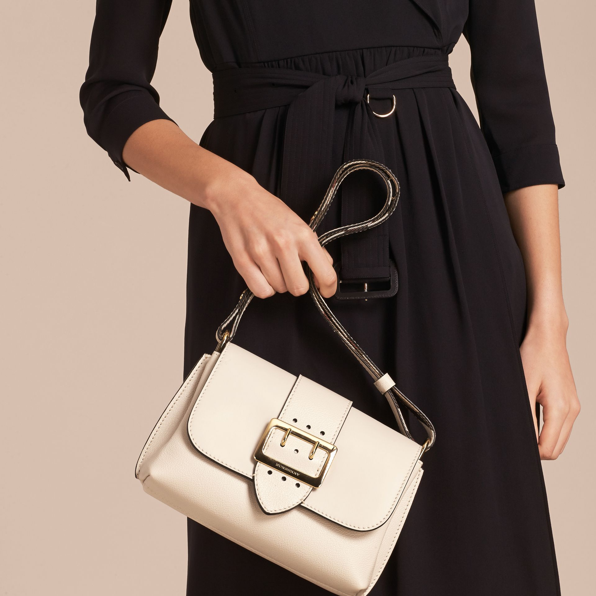 The Buckle Crossbody Bag in Leather in Limestone - gallery image 4