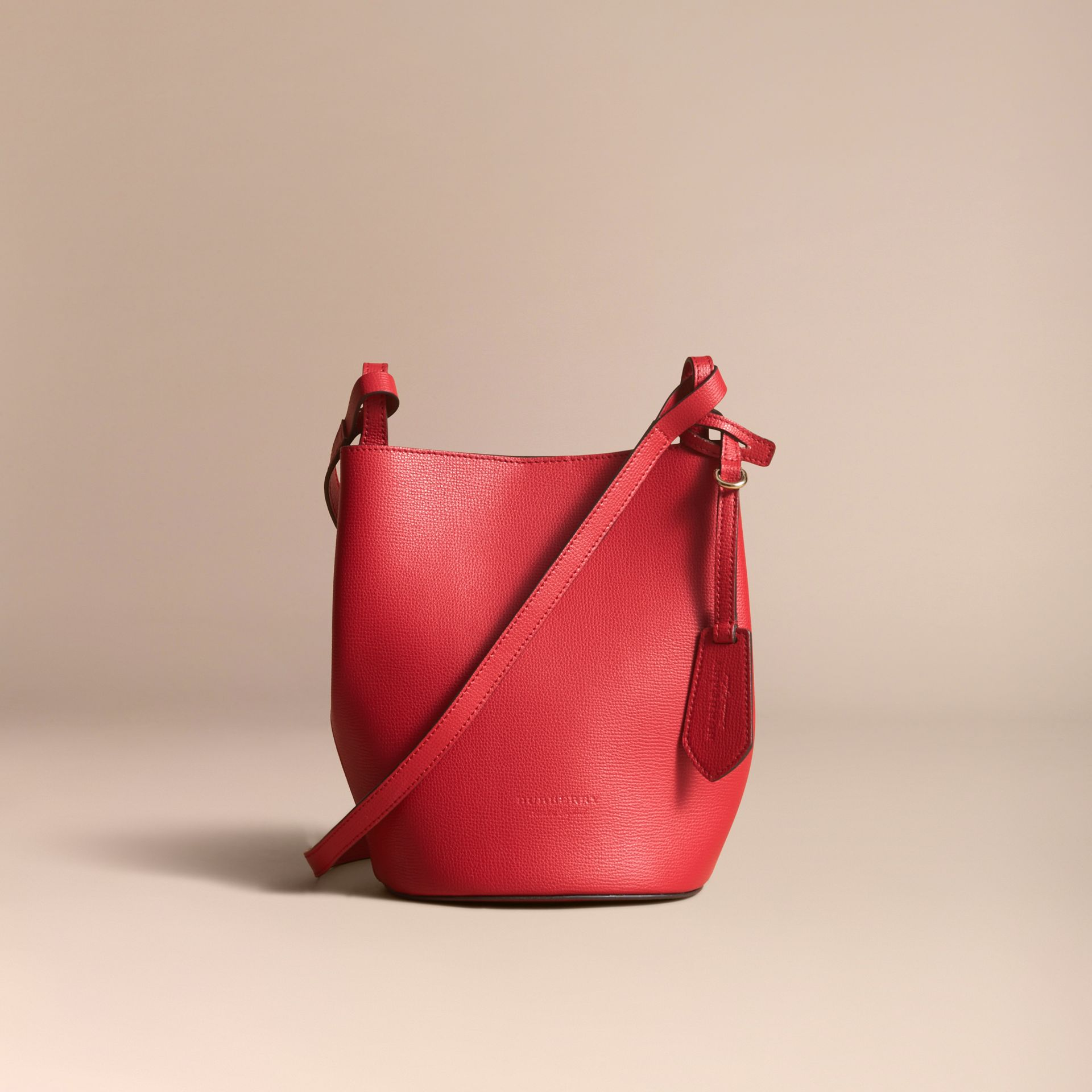 Leather and Haymarket Check Crossbody Bucket Bag in Poppy Red - Women | Burberry Australia - gallery image 7