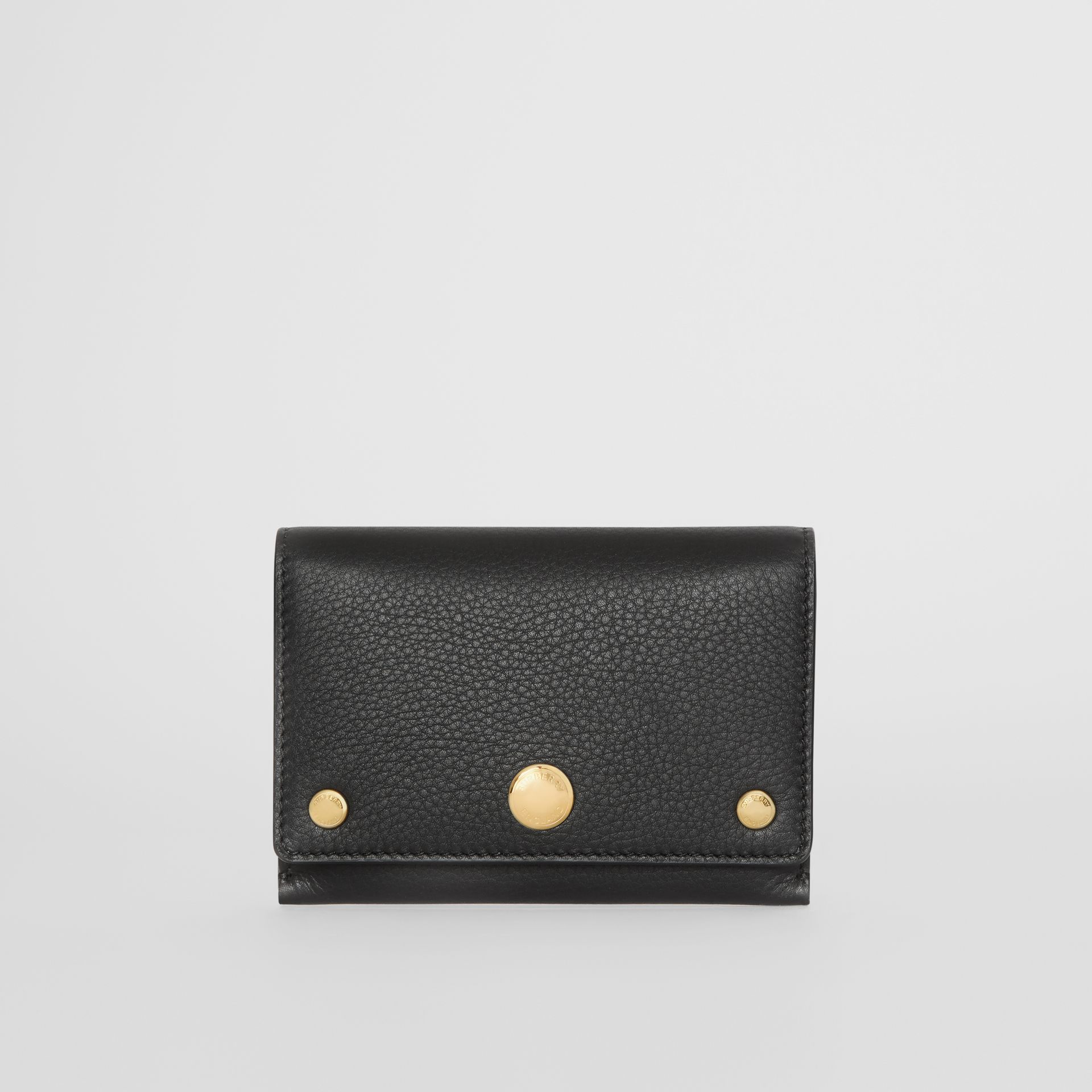 Triple Stud Leather Folding Wallet in Black - Women | Burberry - gallery image 0