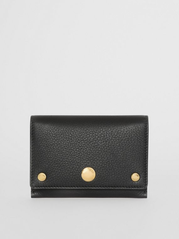 Triple Stud Leather Folding Wallet in Black