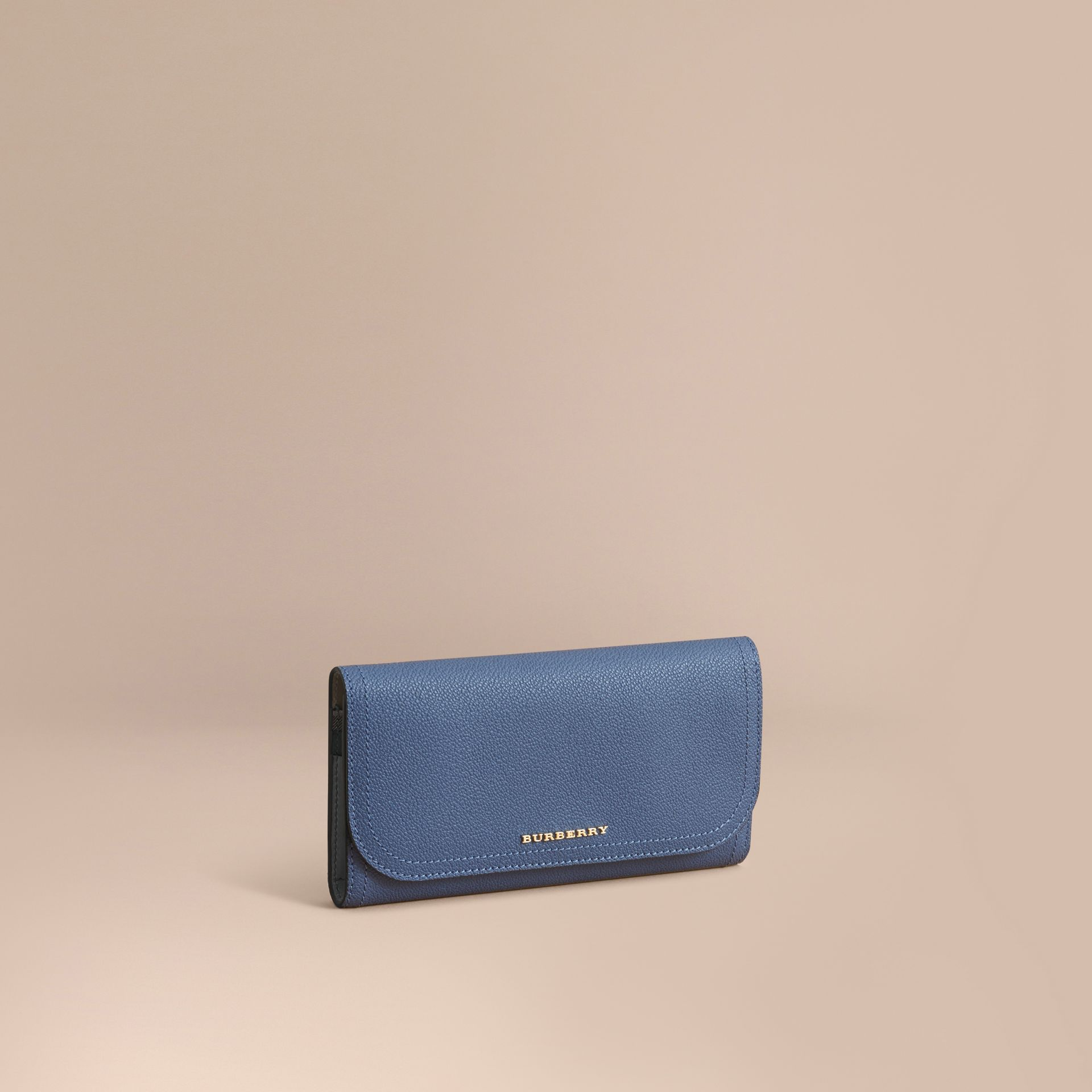Two-tone Leather Continental Wallet and Coin Case in Steel Blue/multi - Women | Burberry United States - gallery image 1