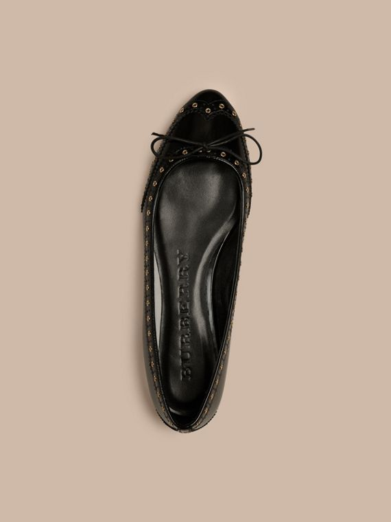 Black Online Exclusive Wingtip Leather Ballerinas - cell image 2