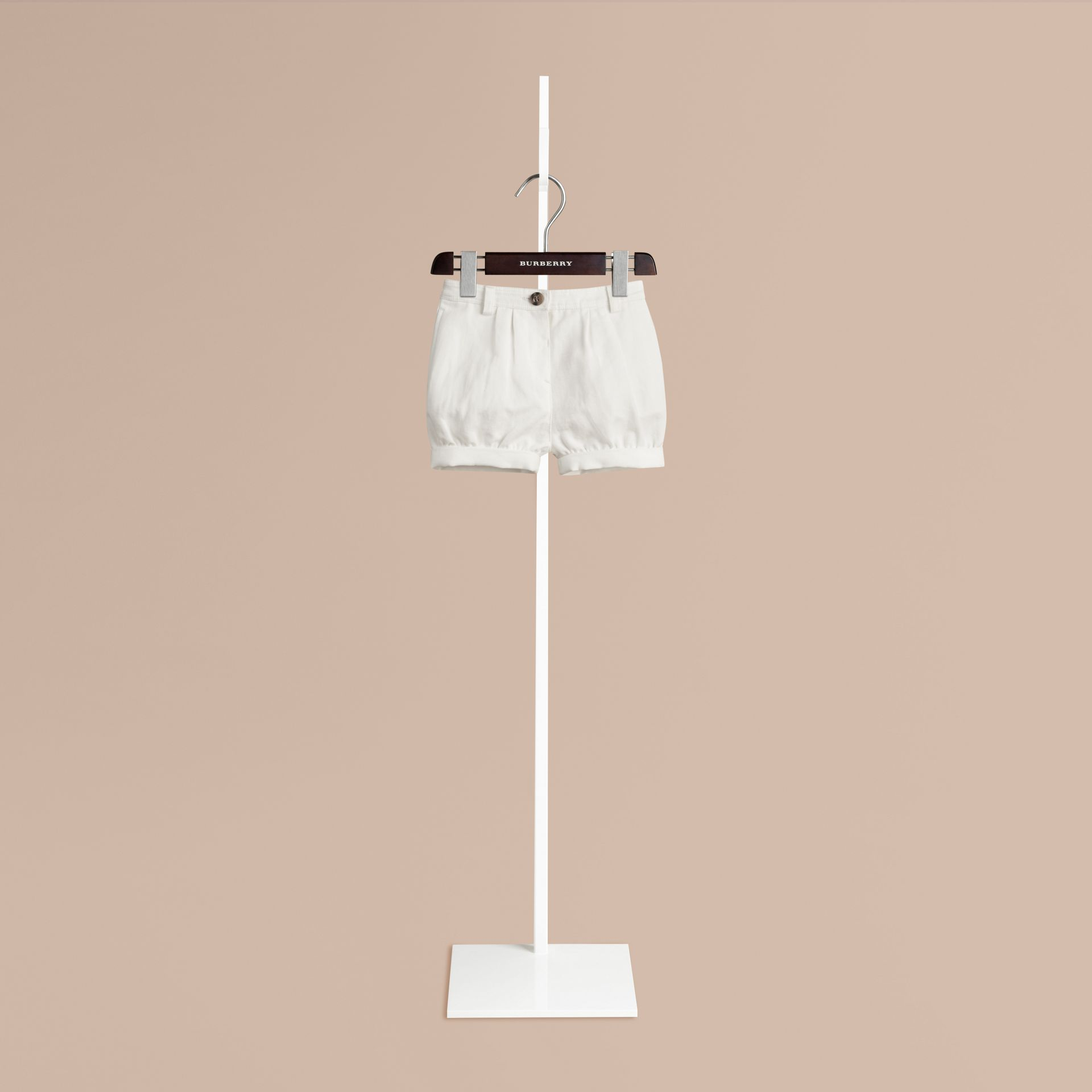 White Cotton Linen Chino Shorts - gallery image 1