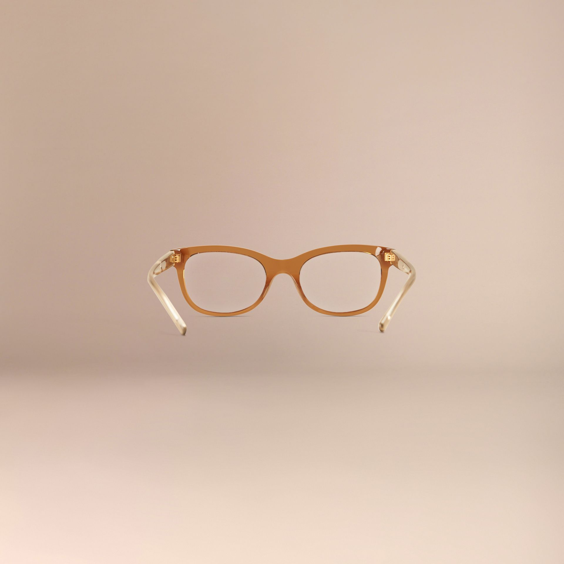 Taupe brown Check Detail Oval Optical Frames Taupe Brown - gallery image 4