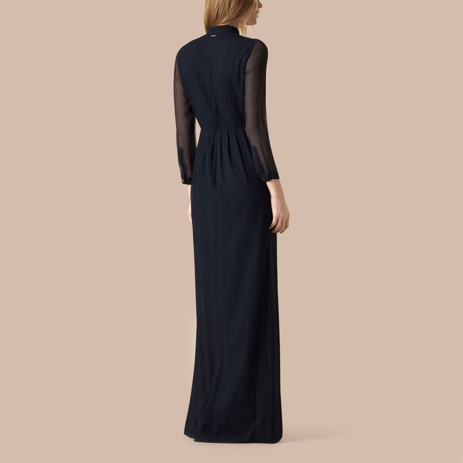 Navy Pleat Detail Floor-length Silk Dress - gallery image 3