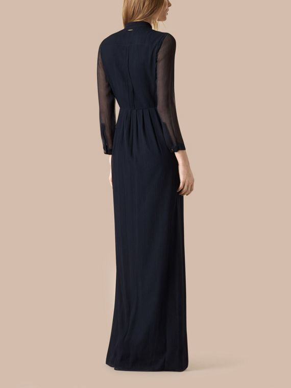 Navy Pleat Detail Floor-length Silk Dress - cell image 2