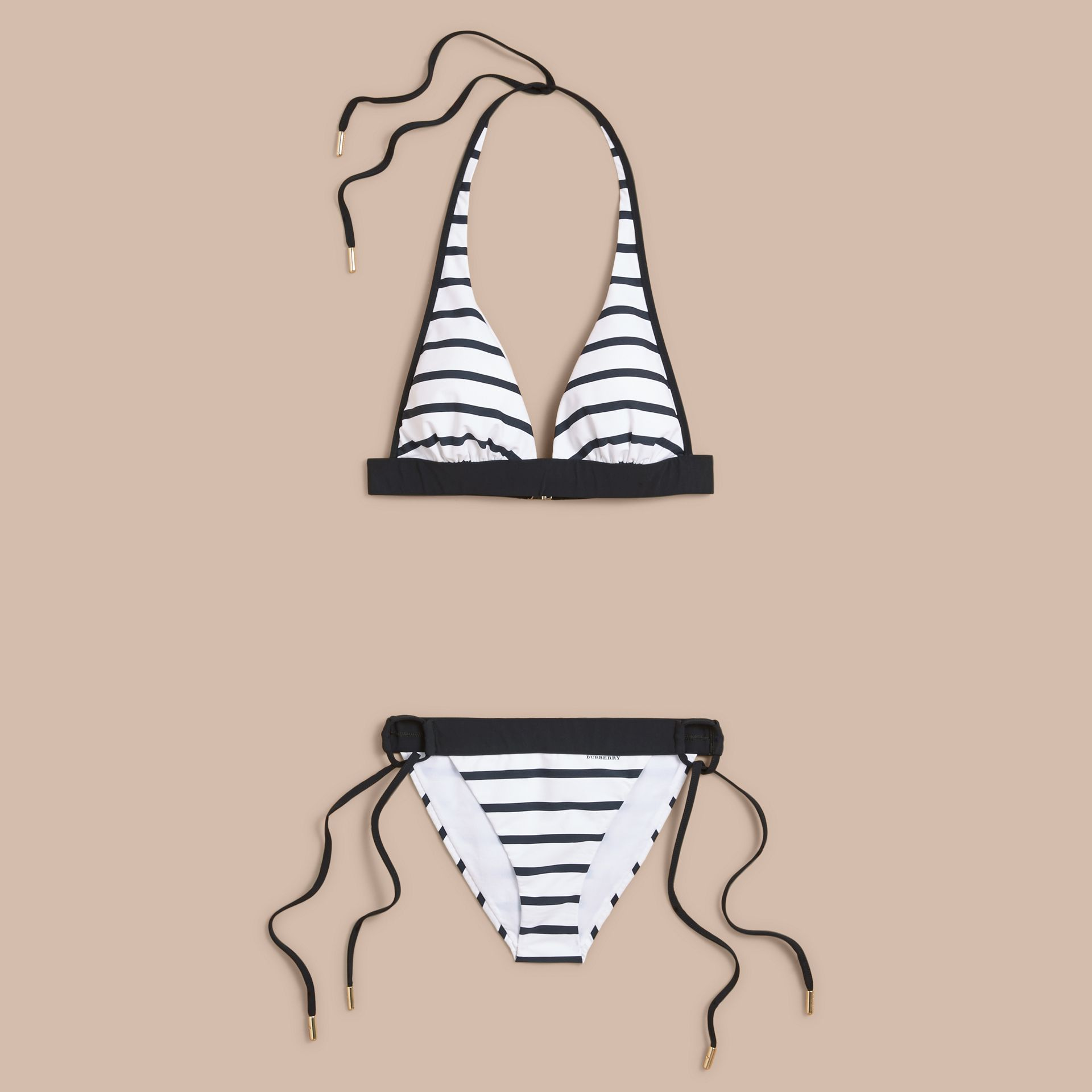 Striped Triangle Bikini - Women | Burberry - gallery image 1