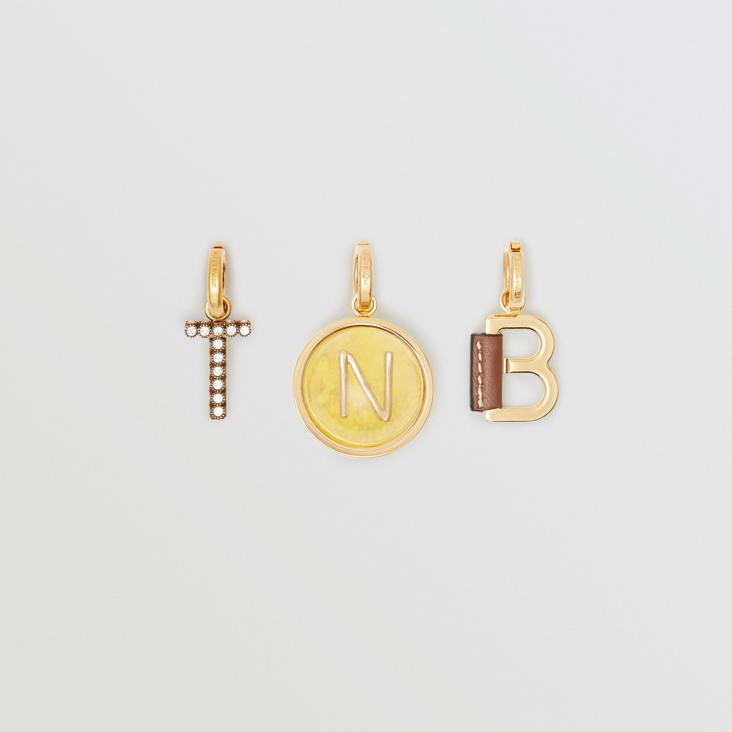 Leather-wrapped 'B' Alphabet Charm in Light Gold/tan | Burberry - 2