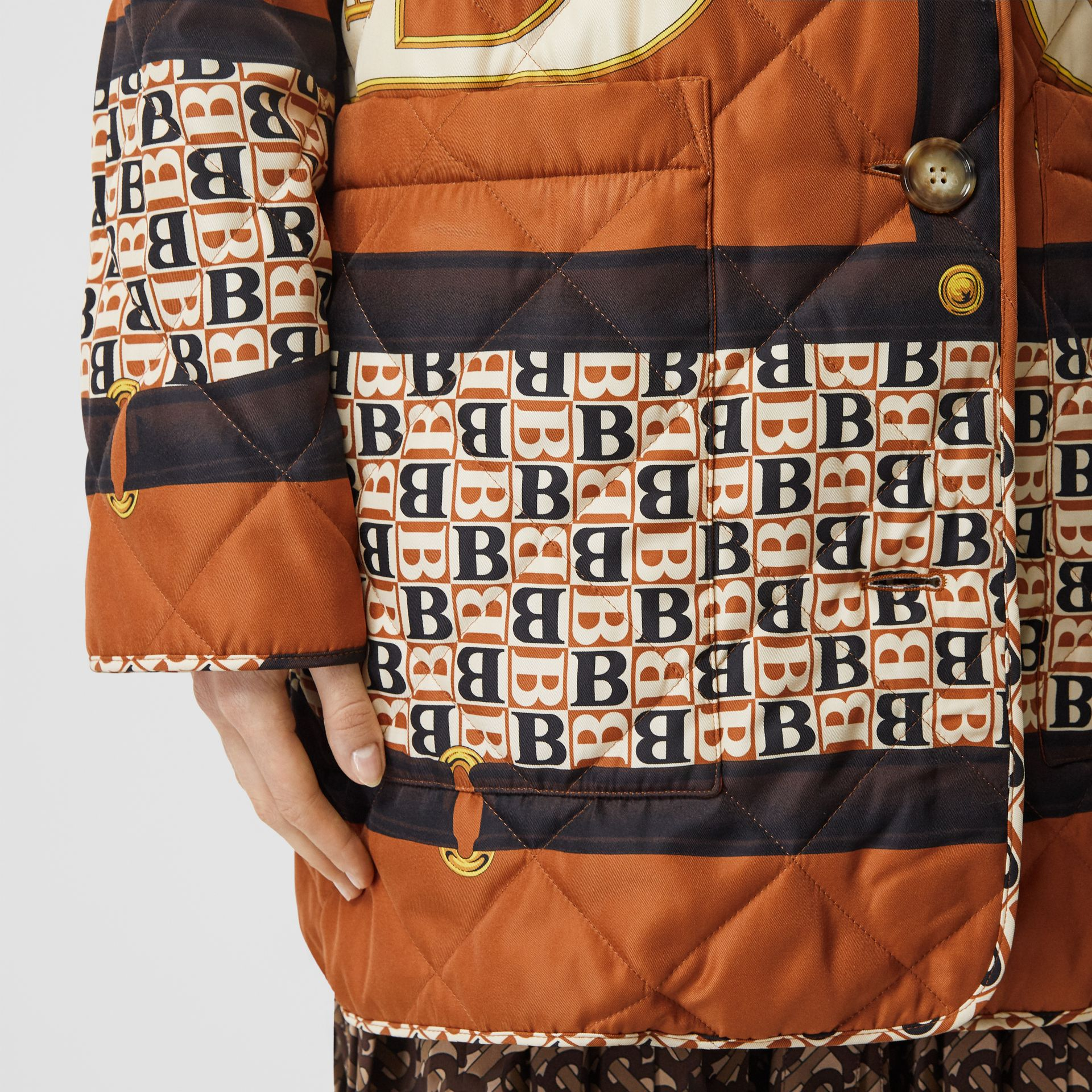 Archive Scarf Print Diamond Quilted Coat in Clay Sienna - Women | Burberry - gallery image 4