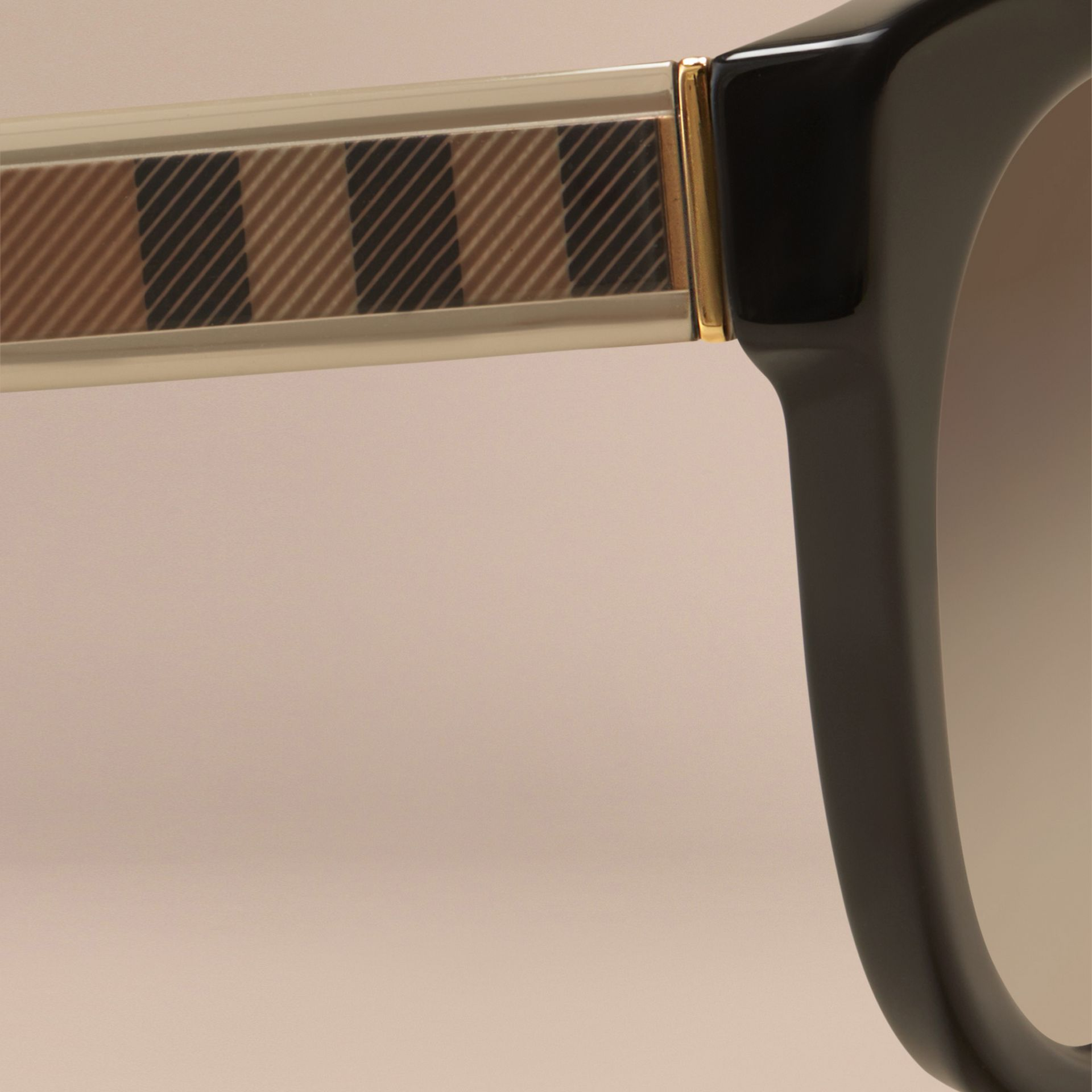 Black Check Detail Oval Sunglasses - gallery image 2
