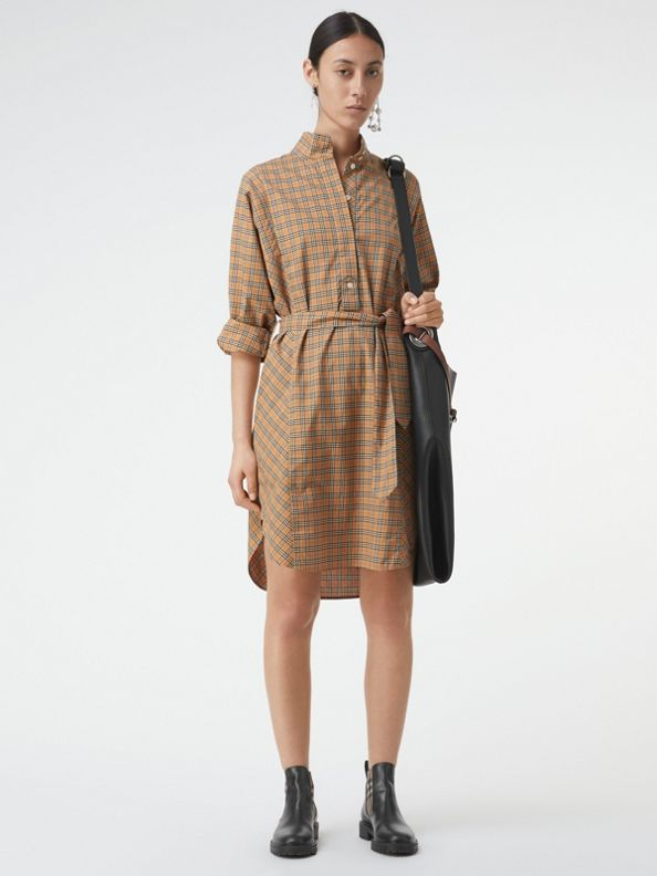Check Cotton Tie-waist Shirt Dress in Antique Yellow