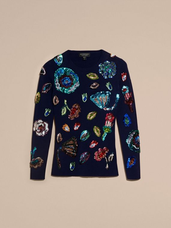Navy Cashmere Sweater with Hand-embroidered Sequin Flowers - cell image 3