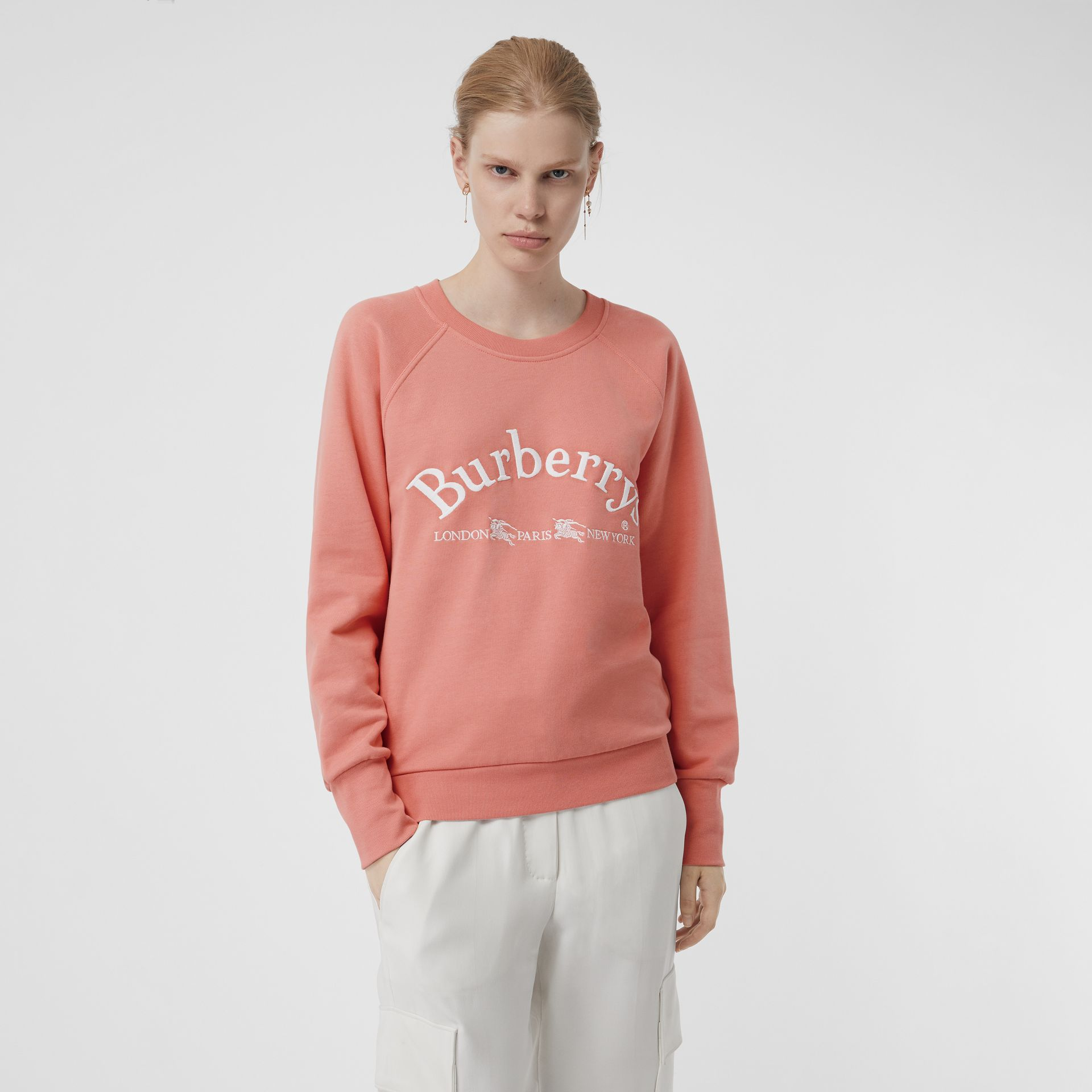 Embroidered Archive Logo Jersey Sweatshirt in Pale Apricot - Women | Burberry Australia - gallery image 0
