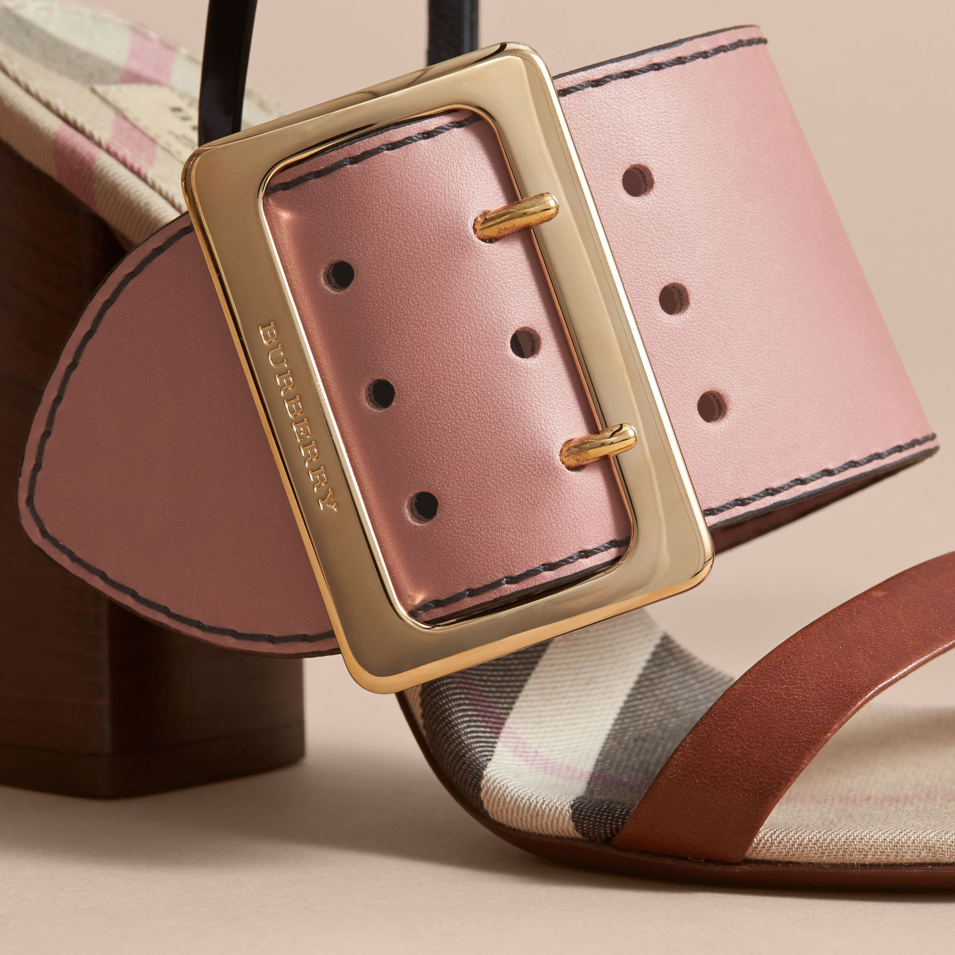 Buckle Detail Colour Block Leather Sandals in Nude Pink - Women | Burberry - gallery image 2