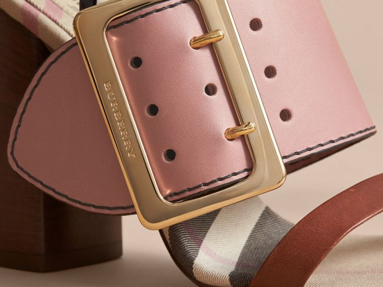Buckle Detail Colour Block Leather Sandals in Nude Pink - Women | Burberry - cell image 1