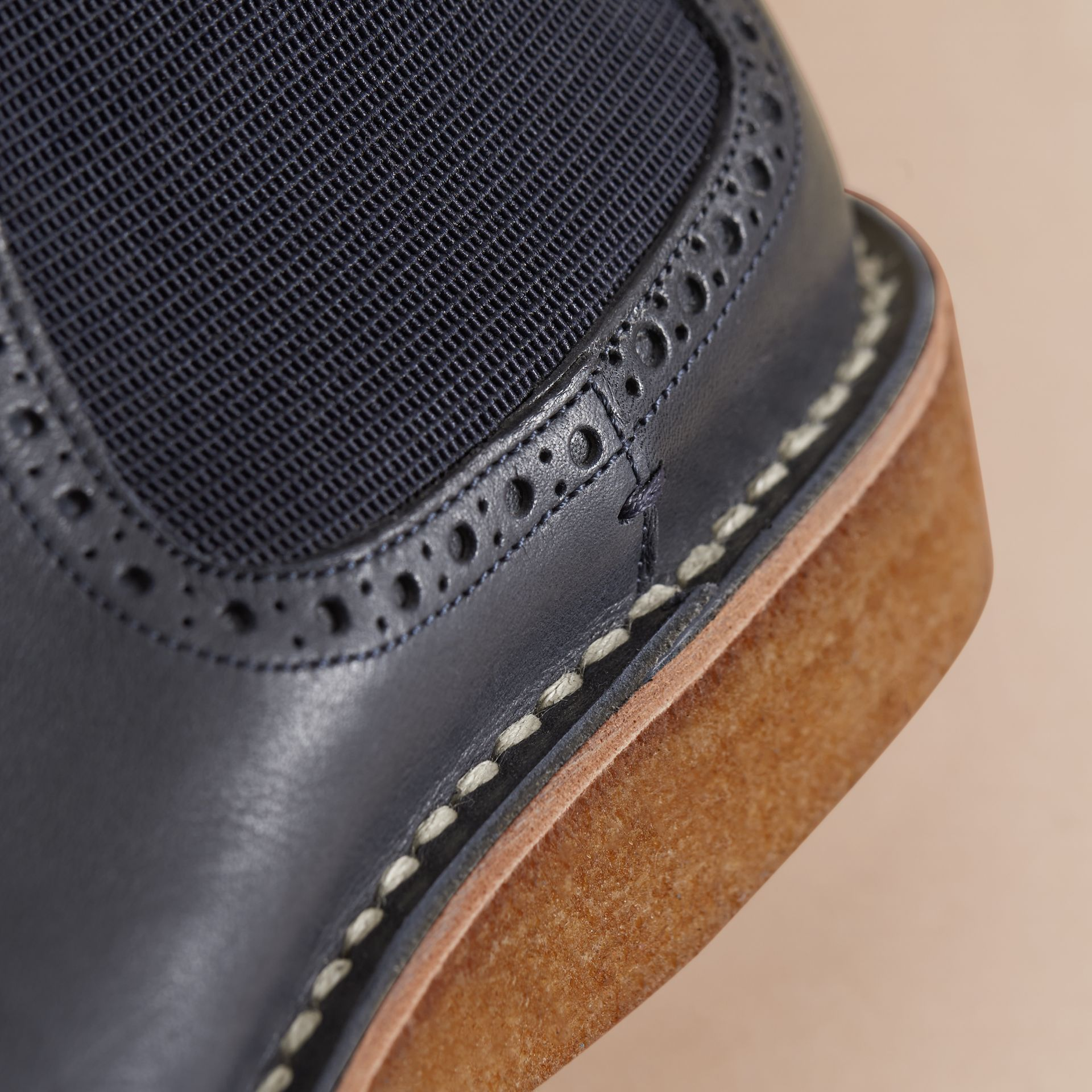 Leather Chelsea Boot in Navy - Men | Burberry - gallery image 4