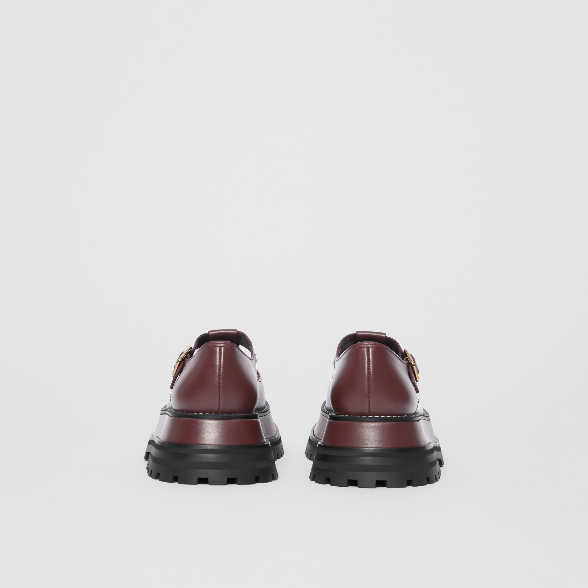 Leather T-bar Shoes in Bordeaux - Women | Burberry - gallery image 3