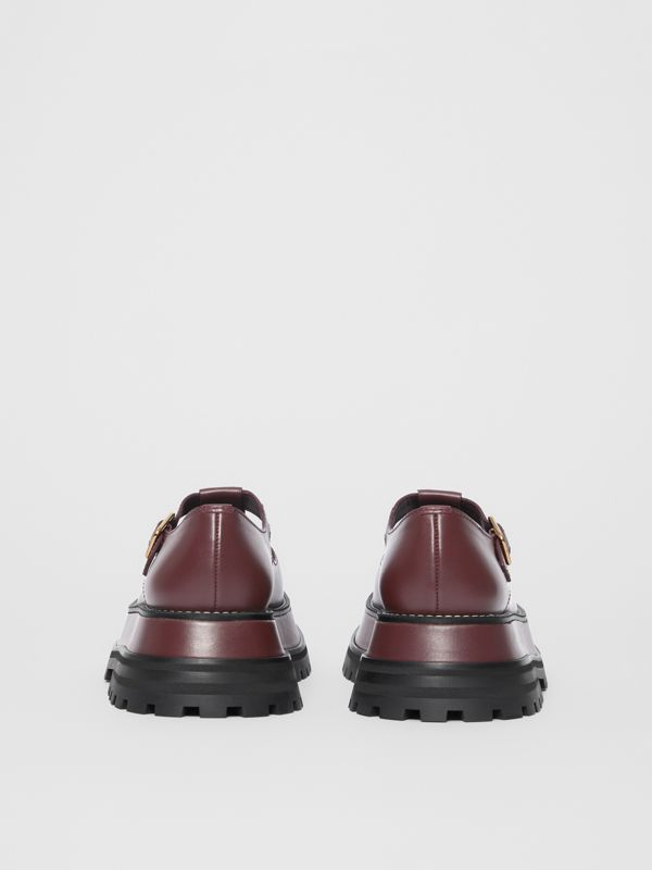 Leather T-bar Shoes in Bordeaux - Women | Burberry - cell image 3