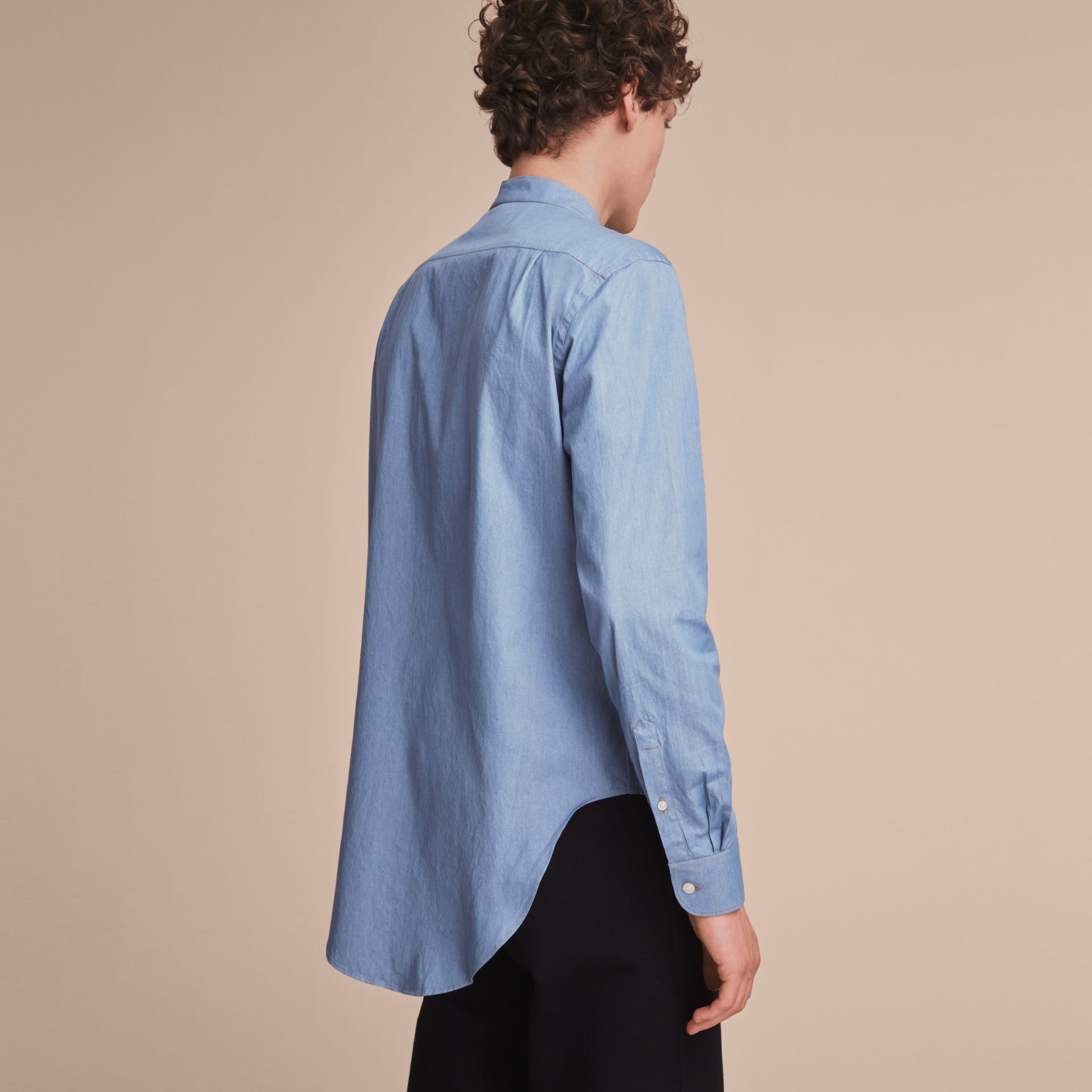 Grandad Collar Denim Shirt - gallery image 3