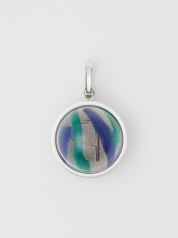 Marbled Resin 'P' Alphabet Charm in Palladio/ocean Blue | Burberry - cell image 3