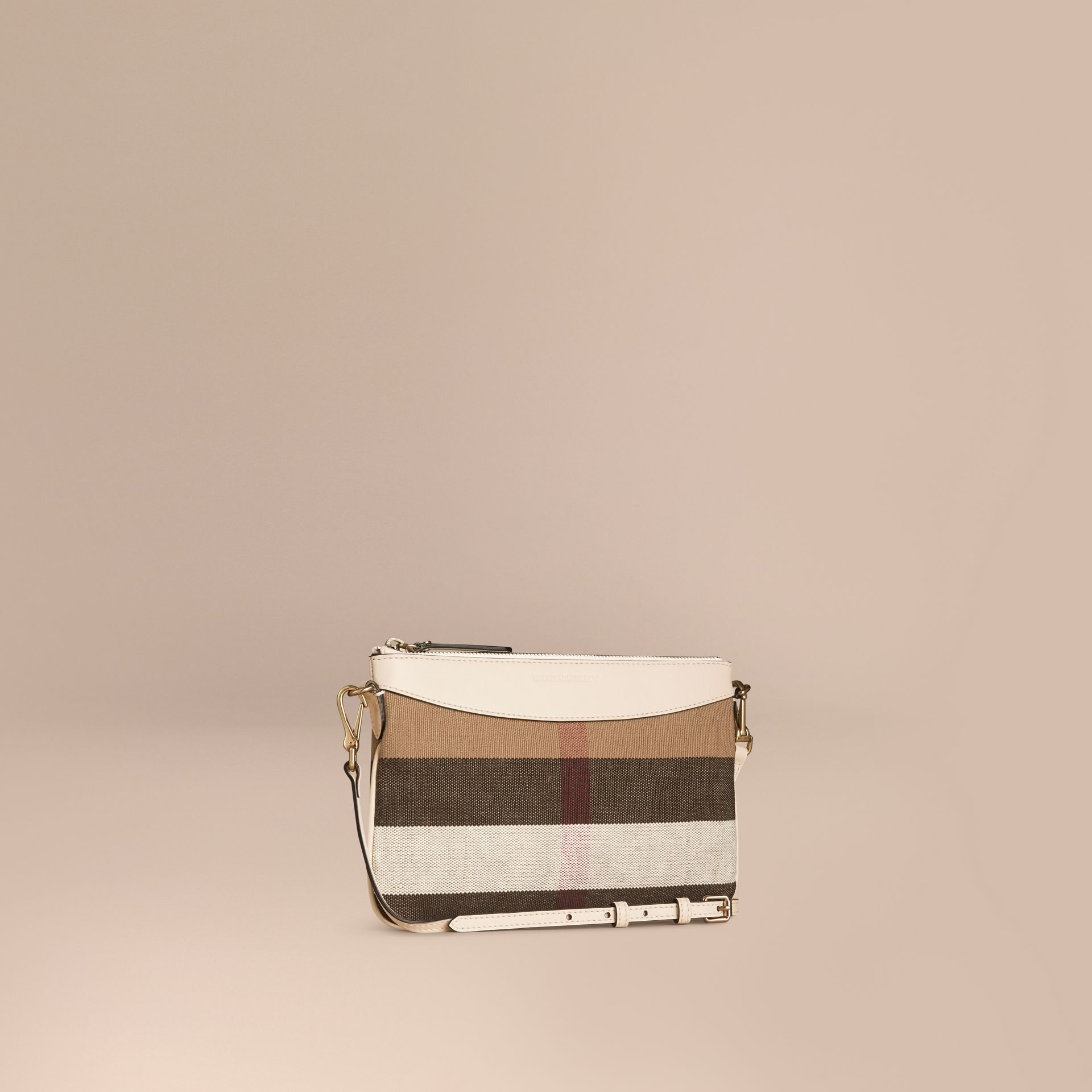 White Canvas Check and Leather Clutch Bag White - gallery image 1