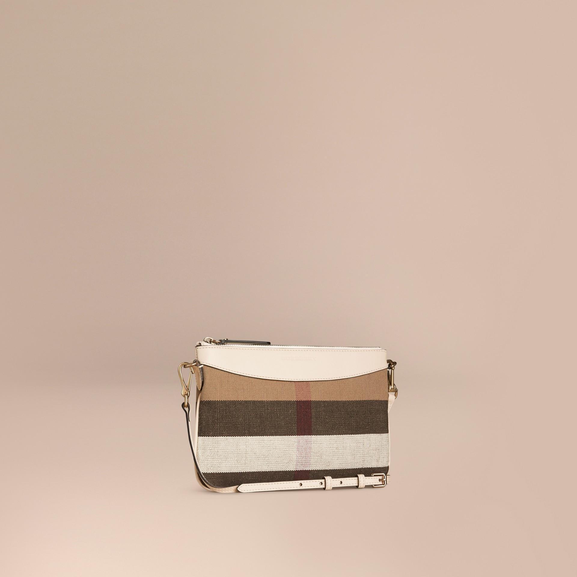 Branco Bolsa clutch de couro com padrão Canvas check - galeria de imagens 1