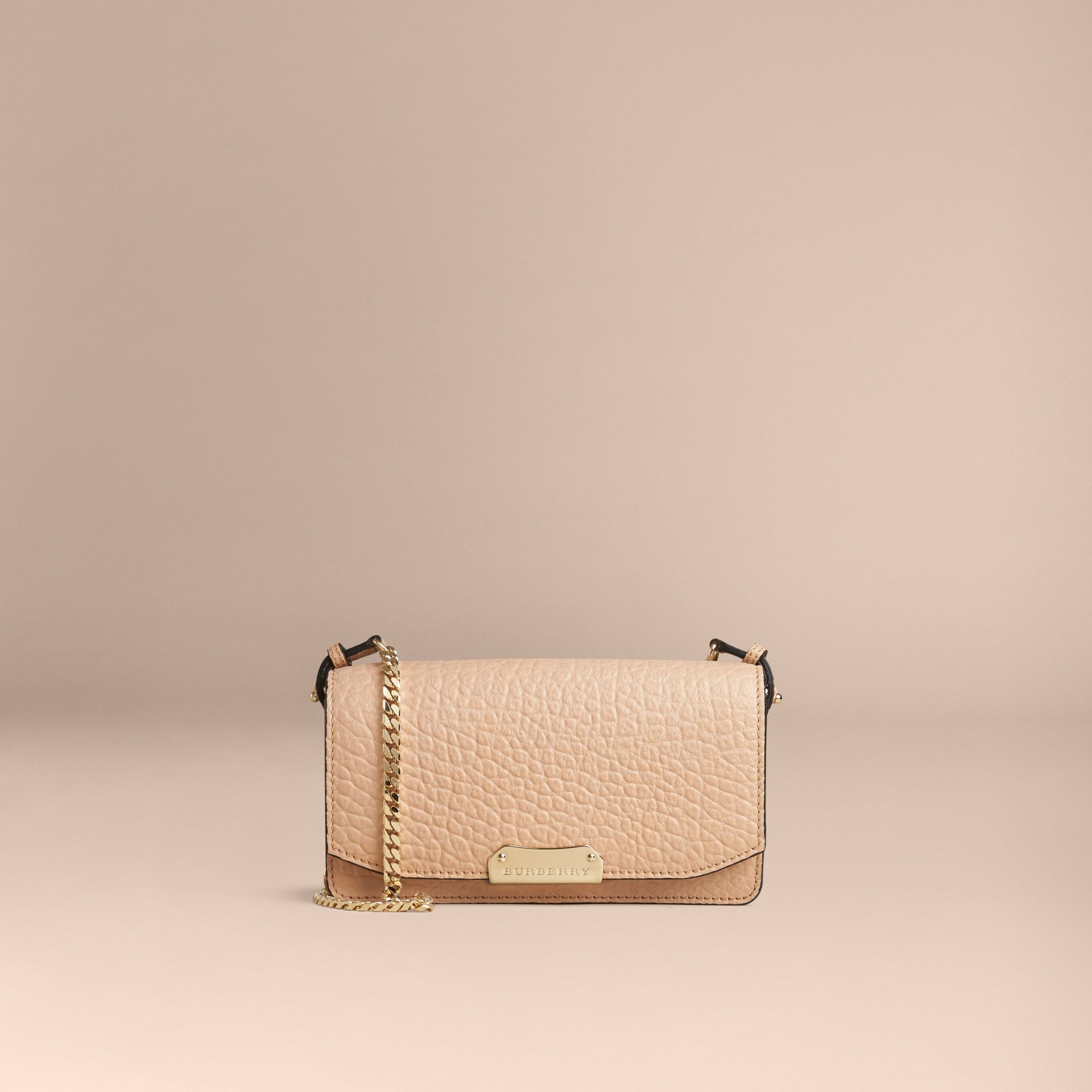 Pale apricot Signature Grain Leather Clutch Bag with Chain - gallery image 3