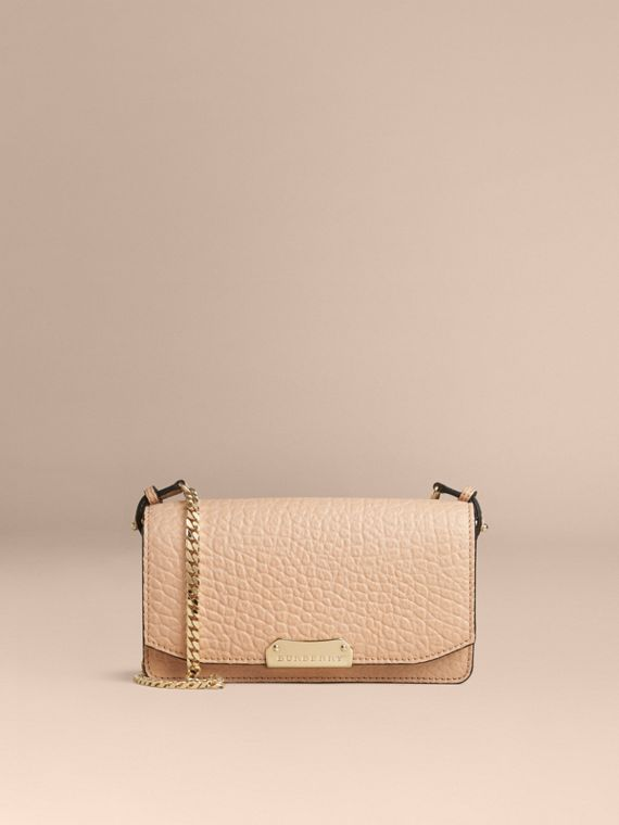 Pale apricot Signature Grain Leather Clutch Bag with Chain - cell image 2