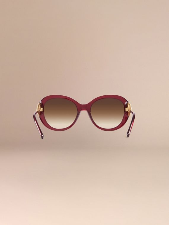 Oxblood Oversize Round Frame Sunglasses Oxblood - cell image 3