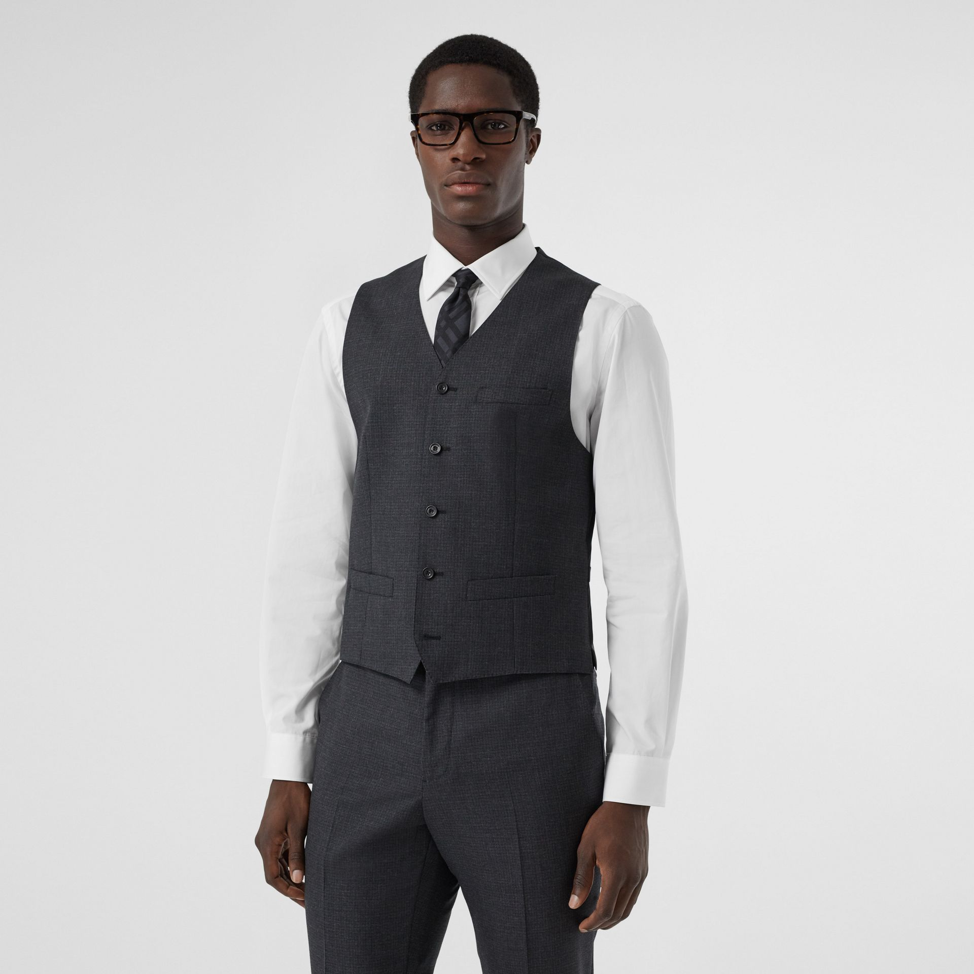 Classic Fit Windowpane Check Wool Three-piece Suit in Charcoal - Men | Burberry - gallery image 6