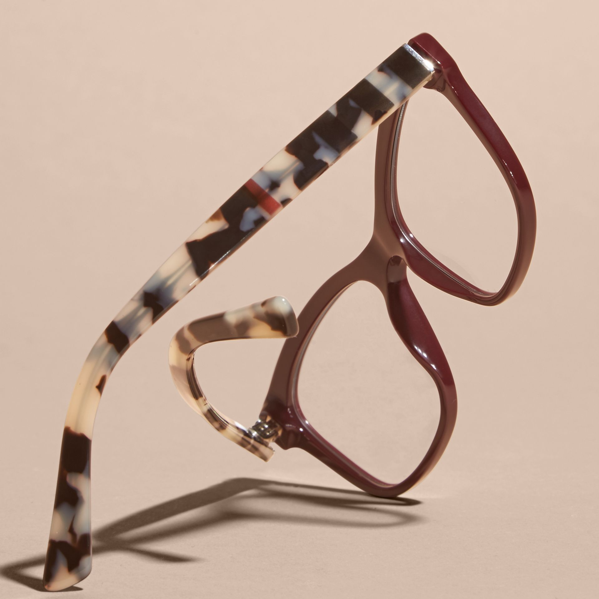 Oxblood Check Detail Square Optical Frames Oxblood - gallery image 4