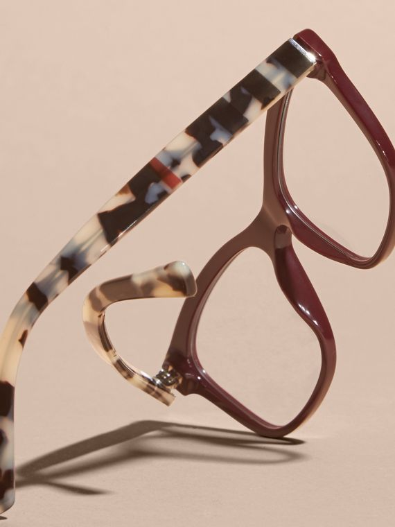Oxblood Check Detail Square Optical Frames Oxblood - cell image 3