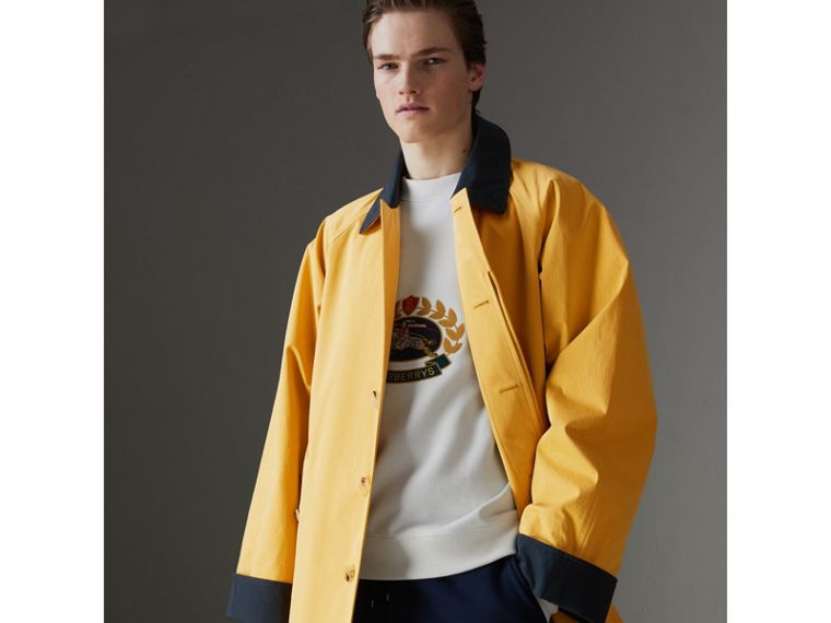 Reissued Waxed Cotton Gabardine Car Coat in Yellow - Men | Burberry - cell image 4