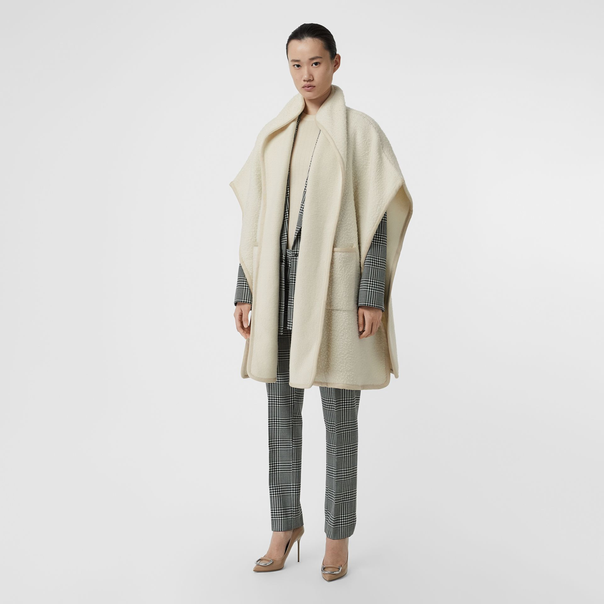 Wool Fleece Cape in Ivory - Women | Burberry Canada - gallery image 0