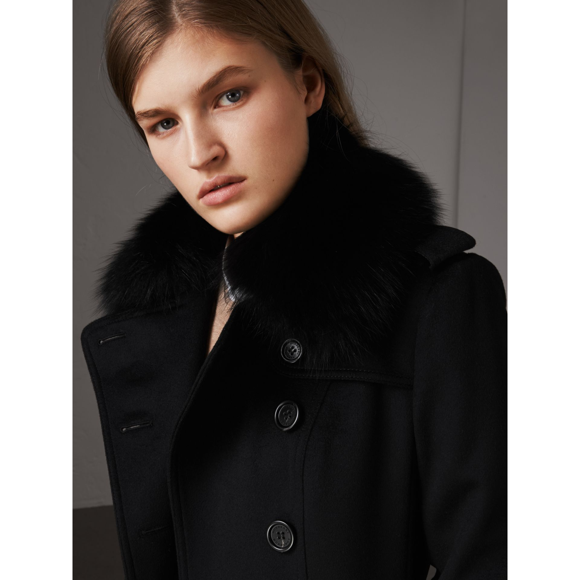 Wool Cashmere Trench Coat with Fur Collar in Black - Women | Burberry Singapore - gallery image 2