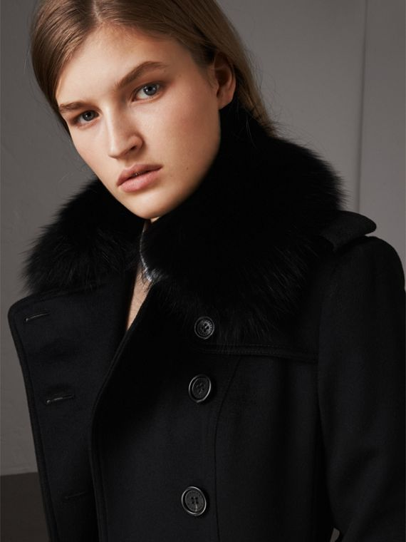 Wool Cashmere Trench Coat with Fur Collar in Black