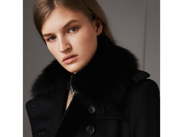 Wool Cashmere Trench Coat with Fur Collar in Black - Women | Burberry Singapore - cell image 1