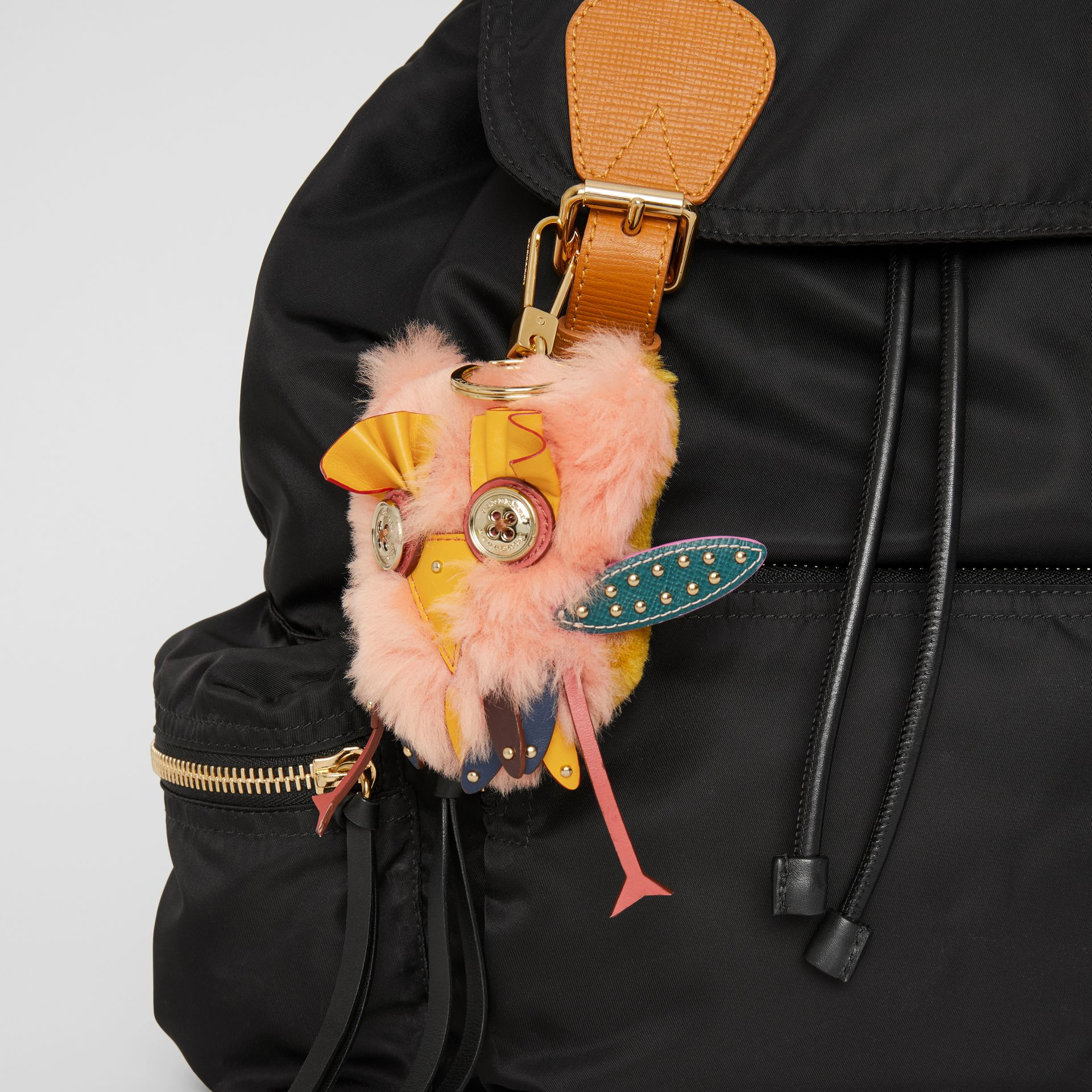 Mavis the Owl Shearling and Leather Charm in Antique Yellow | Burberry United Kingdom - gallery image 2