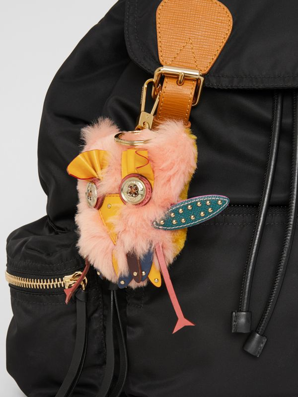 Mavis the Owl Shearling and Leather Charm in Antique Yellow | Burberry United States - cell image 2
