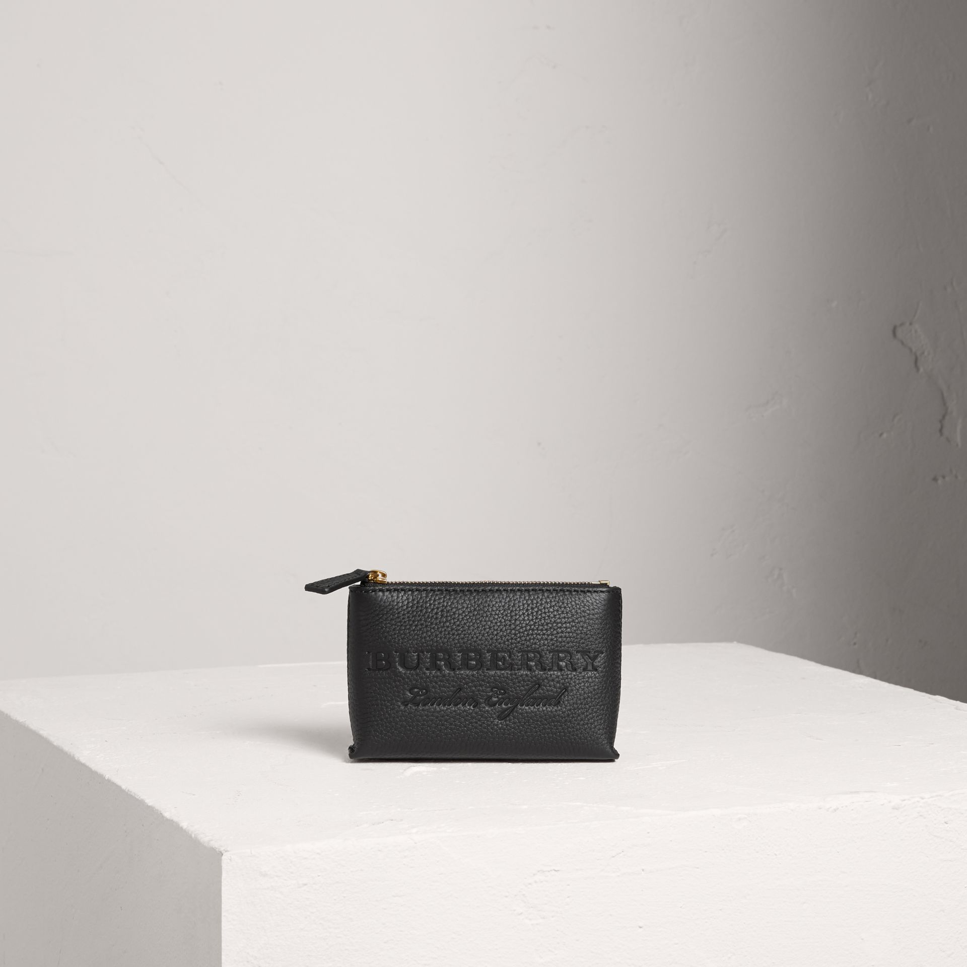 Small Embossed Leather Zip Pouch in Black | Burberry Australia - gallery image 0