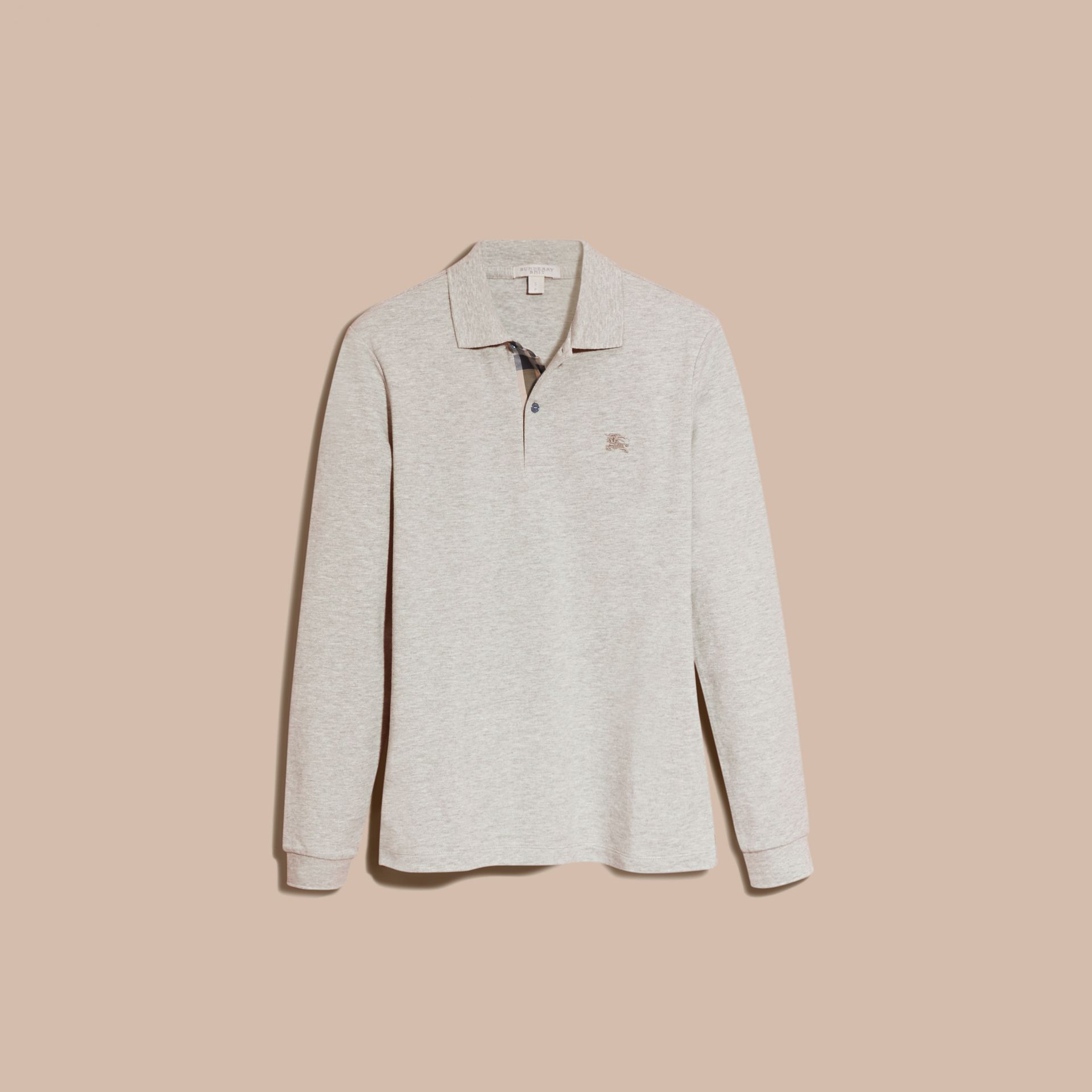 Check Placket Long Sleeve Polo Shirt Pale Grey Melange - gallery image 4