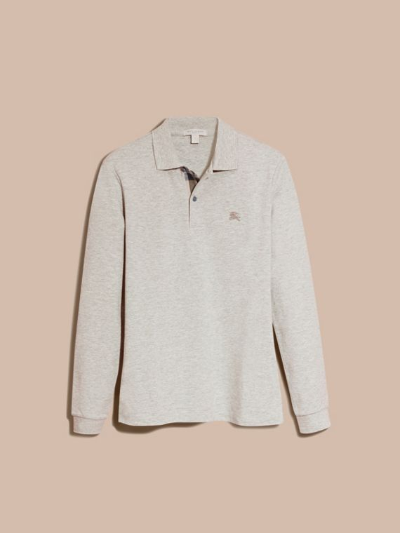 Pale grey melange Check Placket Long Sleeve Polo Shirt Pale Grey Melange - cell image 3