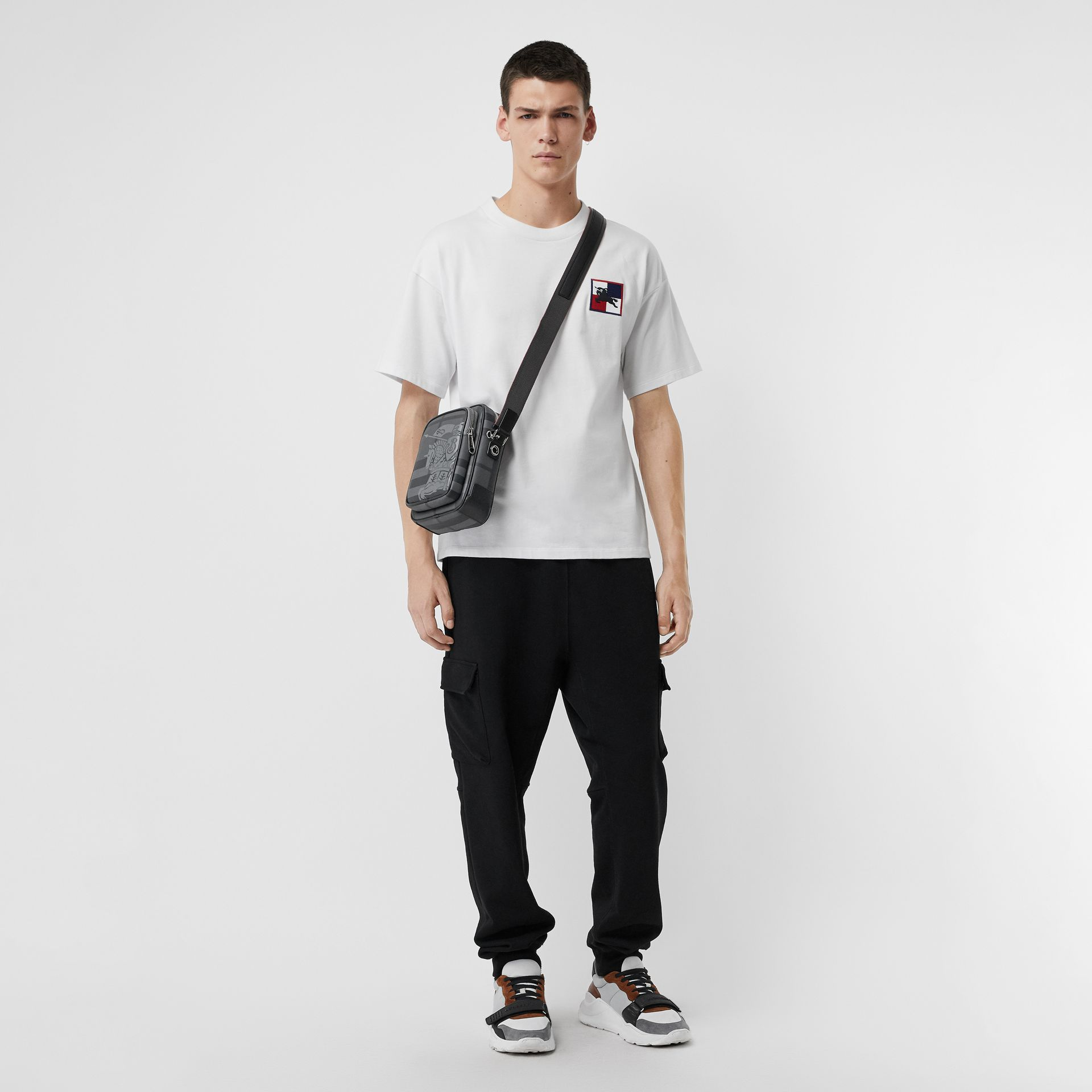 Small EKD London Check Crossbody Bag in Charcoal/black - Men | Burberry - gallery image 2