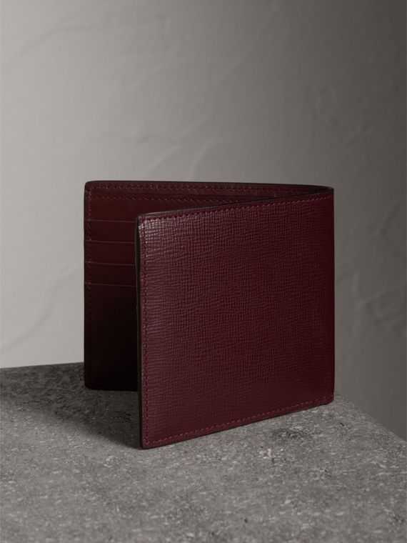 London Leather International Bifold Wallet in Burgundy Red | Burberry Singapore - cell image 2