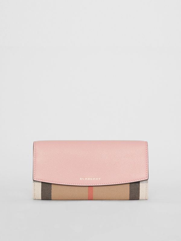 House Check And Leather Continental Wallet in Pale Orchid - Women | Burberry Canada - cell image 2
