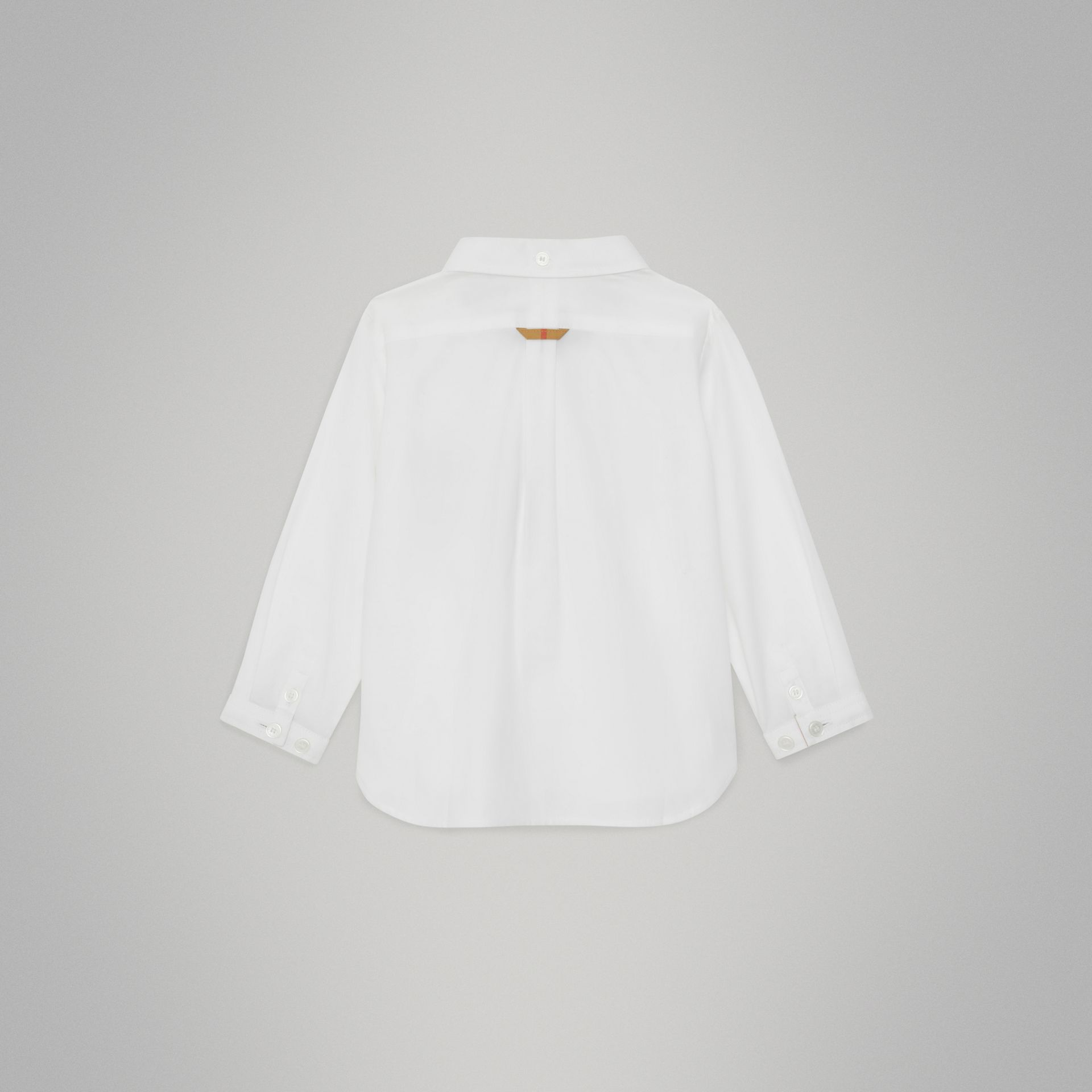 Check Detail Cotton Oxford Shirt in White - Children | Burberry United States - gallery image 3
