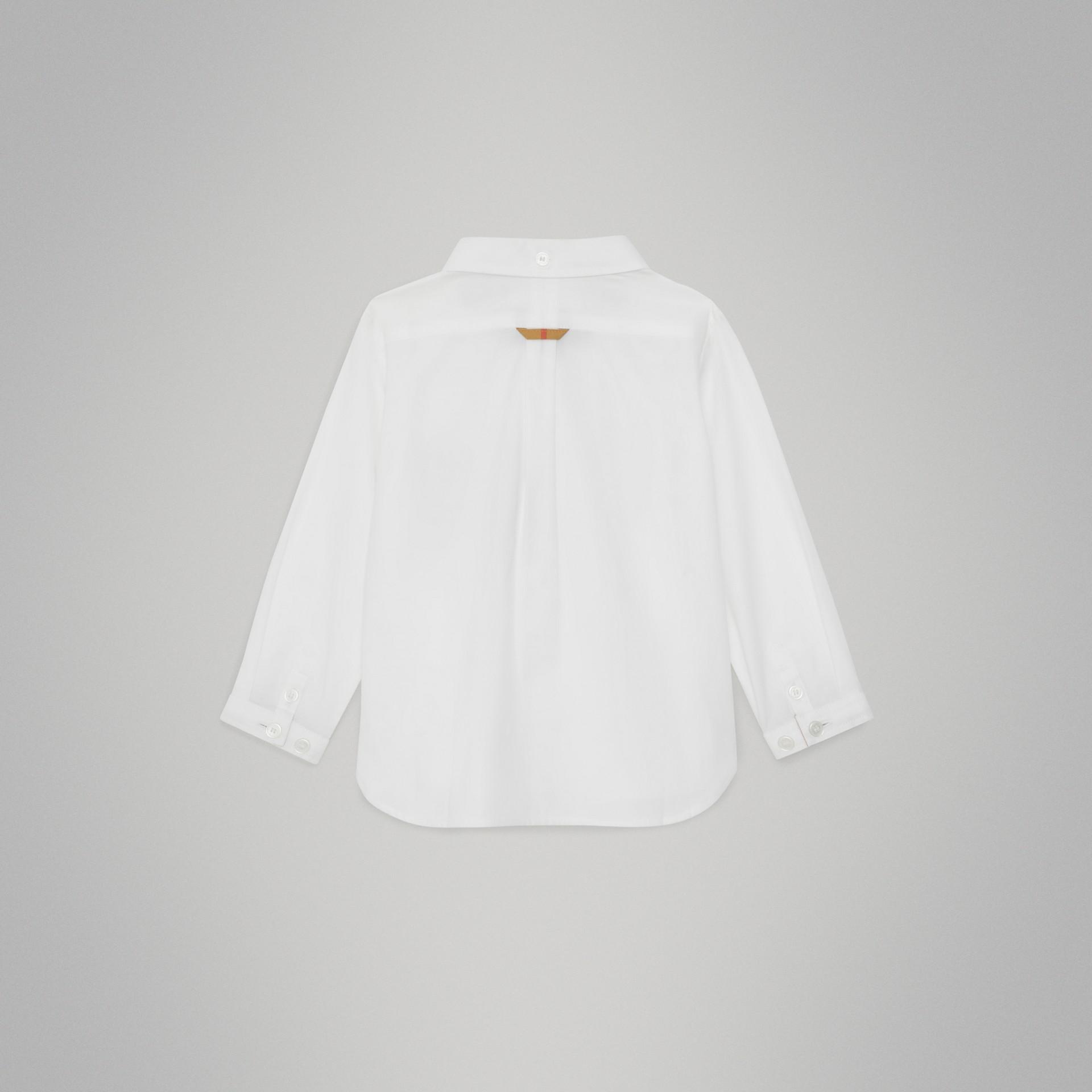 Camisa Oxford de algodão com detalhe xadrez (Branco) - Crianças | Burberry - galeria de imagens 3