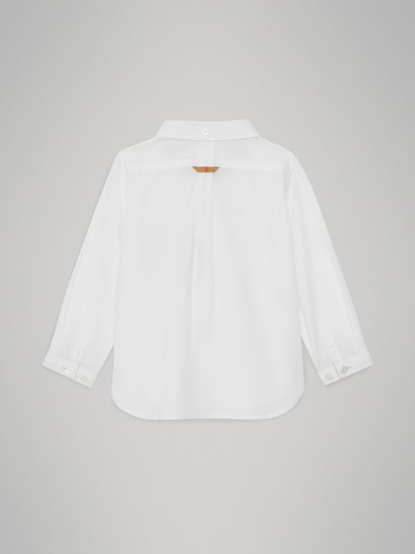 Check Detail Cotton Oxford Shirt in White - Children | Burberry United States - cell image 3